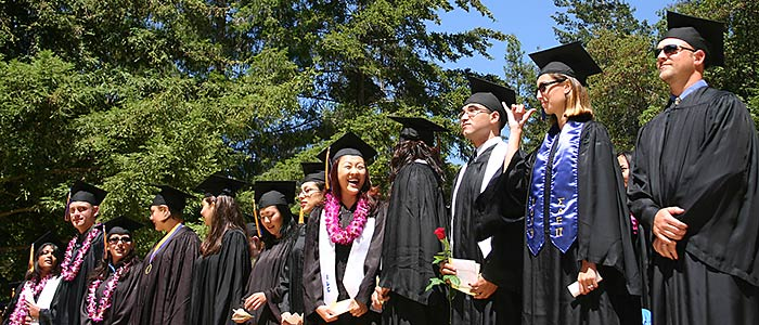Students having fun at commencement